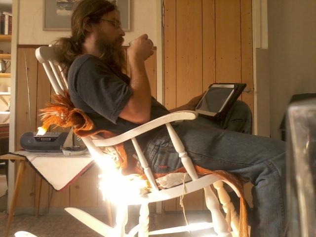 """coffee break, reading """"NPCs"""" by Drew Hayes"""