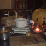 Preparing to make pumpkin chutney