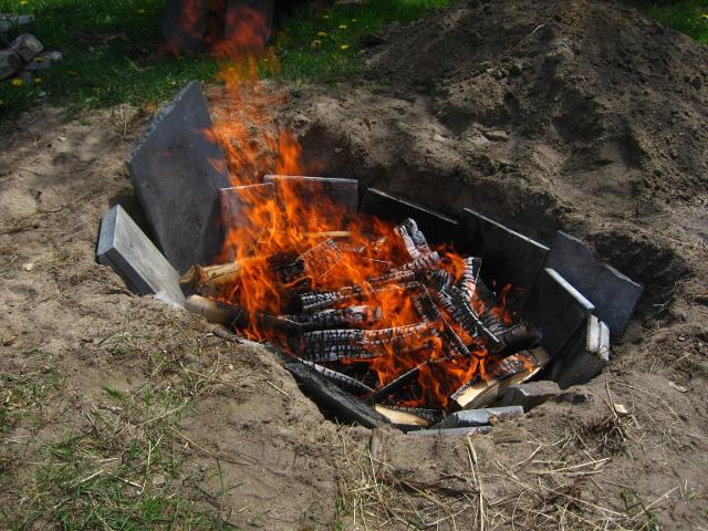 We kept the fire burning for ten hours