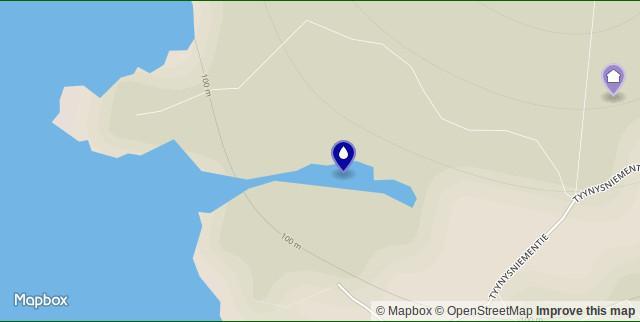My house and the Takalahti bay on a map