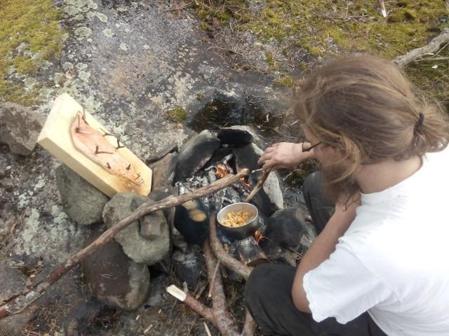 Frying chanterelles