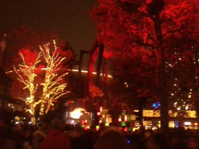 The lights of the amusement park
