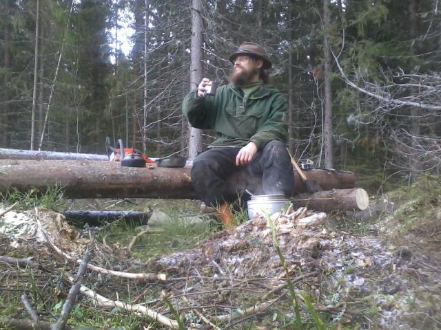Having a lunch break in the woods.